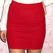 Одежда ручной работы. Ярмарка Мастеров - ручная работа красная трикотажная юбка карандаш резинка. Handmade.