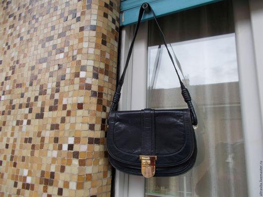 Винтажные сумки и кошельки. Ярмарка Мастеров - ручная работа. Купить Темно-синяя сумка винтаж италия. Handmade. Тёмно-синий