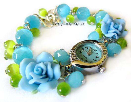 """Часы ручной работы. Ярмарка Мастеров - ручная работа. Купить Часы """"Голубые розы"""". Handmade. Часы, часы-браслет, металлофурнитура"""
