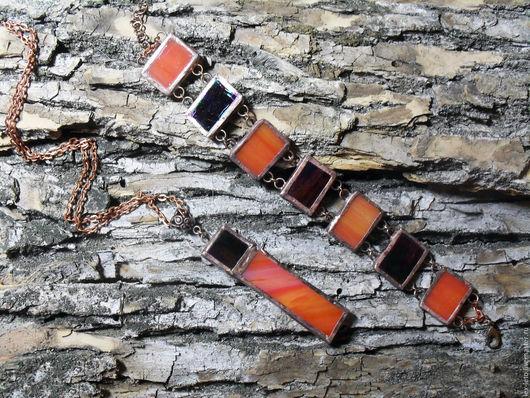 Комплекты украшений ручной работы. Ярмарка Мастеров - ручная работа. Купить Витражный комплект браслет и кулон. Handmade. Ярко-красный