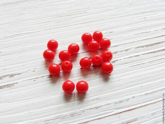 Гладкие круглые бусины цвет красный коралл, размер 4 мм (арт. 2277)