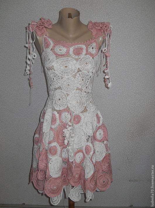 """Платья ручной работы. Ярмарка Мастеров - ручная работа. Купить Платье вязаное """"Яблони в цвету"""". Handmade. Белый, Игольное кружево"""