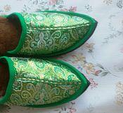 """Обувь ручной работы. Ярмарка Мастеров - ручная работа Тапочки восточные""""Изумруд """". Handmade."""