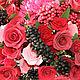 """Интерьерные композиции ручной работы. Ярмарка Мастеров - ручная работа. Купить """"Букет из роз и ягод"""". Handmade. Ярко-красный"""