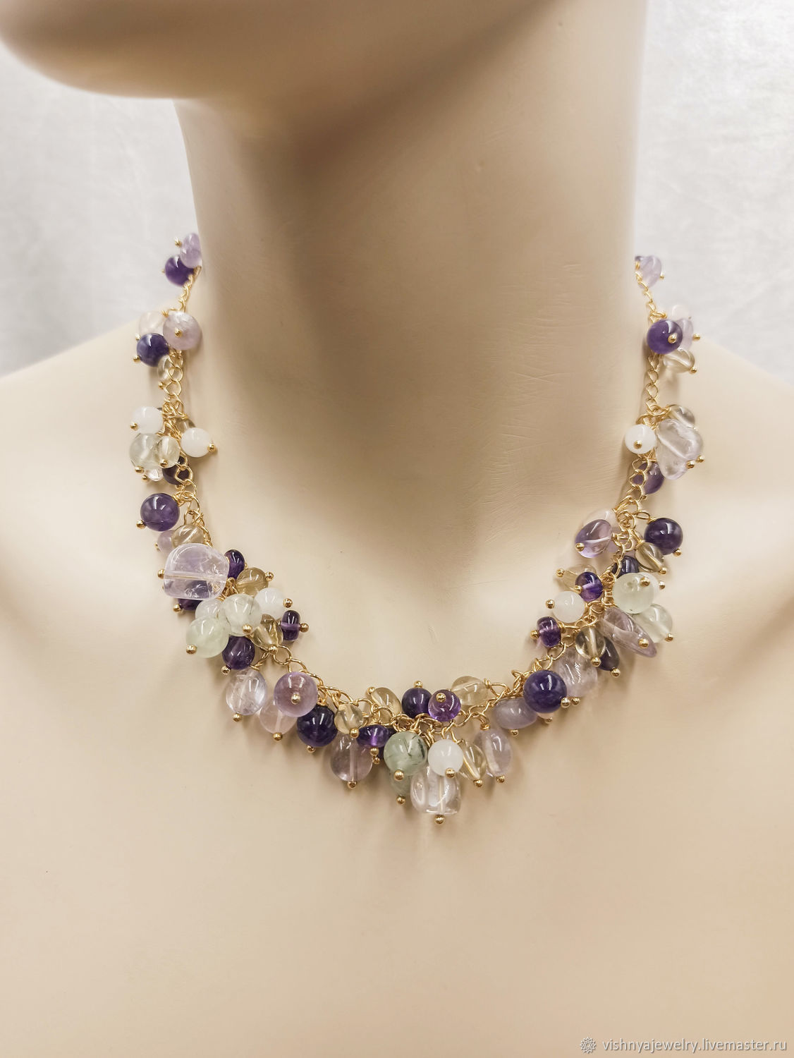 Necklace gold Plated Natural stones lilac, Necklace, Moscow,  Фото №1