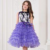 Платья ручной работы. Ярмарка Мастеров - ручная работа Платье фиолетовое с каскадной юбкой. Handmade.