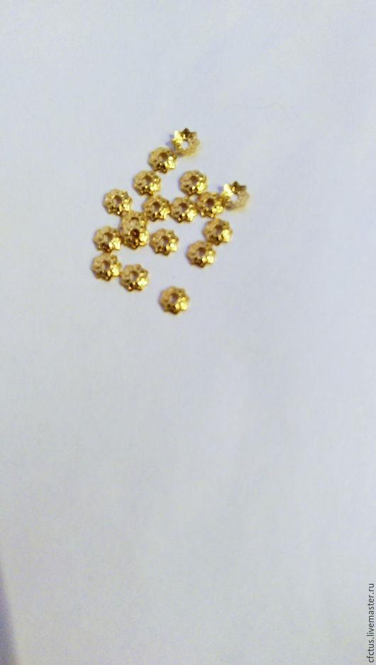 Для украшений ручной работы. Ярмарка Мастеров - ручная работа. Купить 50 шт.Шаочки для бусин Цветок мал. 4 мм латунь позолота. Handmade.