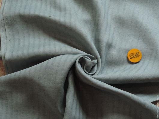 Шитье ручной работы. Ярмарка Мастеров - ручная работа. Купить лен ткань сетка полоска морская волна. Handmade. Лен