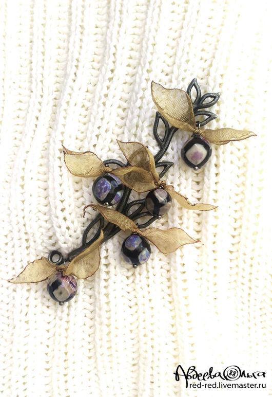 веточка крупная брошь булавка на шарф фиолетовые камни