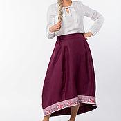 Одежда handmade. Livemaster - original item Skirt linen Slavyanka 02 in Russian style. Handmade.