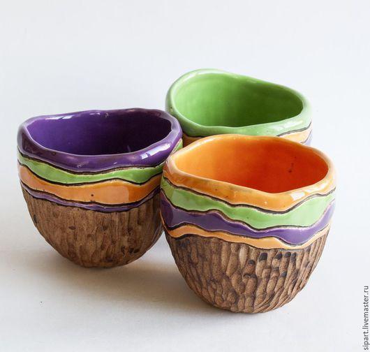 """Пиалы ручной работы. Ярмарка Мастеров - ручная работа. Купить Комплект пиал """"Растамикс"""". Handmade. Разноцветный, посуда ручной работы"""