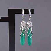 "Украшения handmade. Livemaster - original item ""Aphrodite"" Green onyx, amethysts and garnets earrings. Handmade."