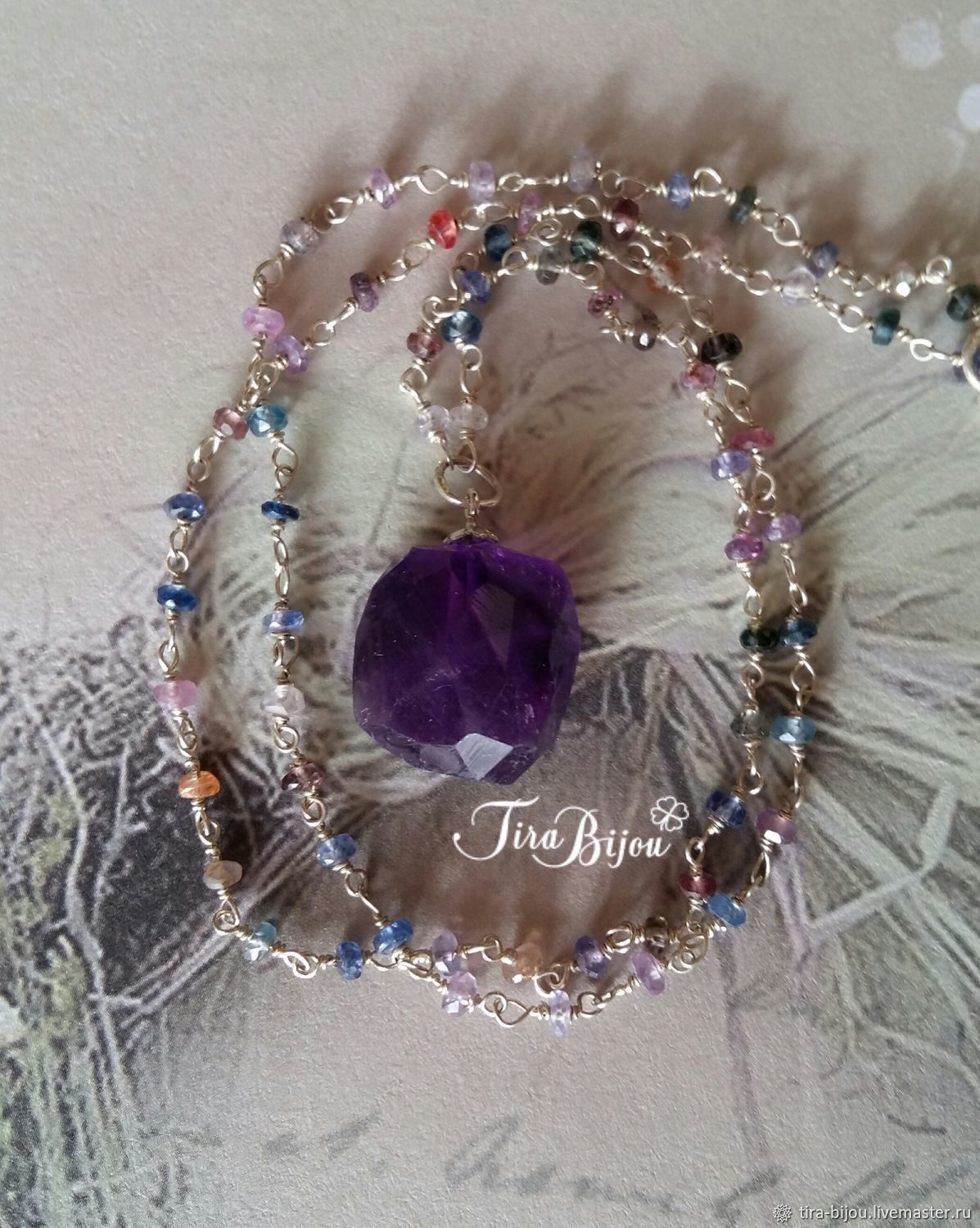 Rose garden chain with natural amethyst, Pendants, Moscow,  Фото №1