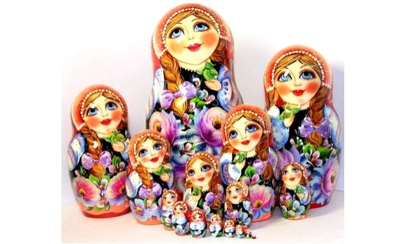 Матрёшка цветы 15 м 33см, Народная кукла, Шатура,  Фото №1