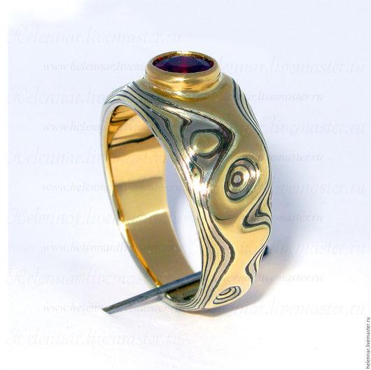 """Кольца ручной работы. Ярмарка Мастеров - ручная работа. Купить Кольцо Мокуме Гане """"Лавовое озеро"""". Handmade. Кольцо, палладий"""
