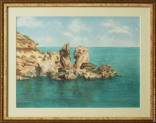 """Пейзаж ручной работы. Ярмарка Мастеров - ручная работа. Купить пейзаж акварель,  """"Кипр. Прибрежные камни"""", пейзаж, картина акварелью. Handmade."""