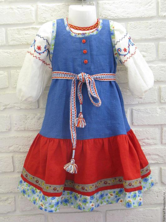 Одежда ручной работы. Ярмарка Мастеров - ручная работа. Купить Русский костюм для девочки. Handmade. Синий, народный костюм, лён