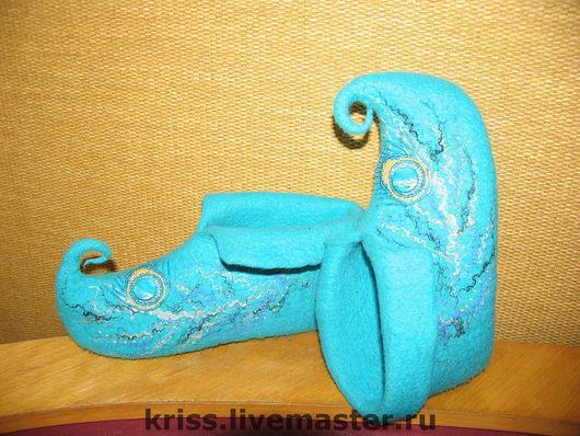 Обувь ручной работы. Ярмарка Мастеров - ручная работа. Купить тапочки турецкие. Handmade. Бирюзовый, турецкие тапочки, валяная обувь