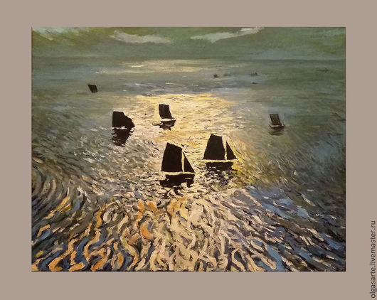 """Пейзаж ручной работы. Ярмарка Мастеров - ручная работа. Купить Копия картины маслом W. F. Ritschel """"Boats Returning Home"""", Живопись. Handmade."""