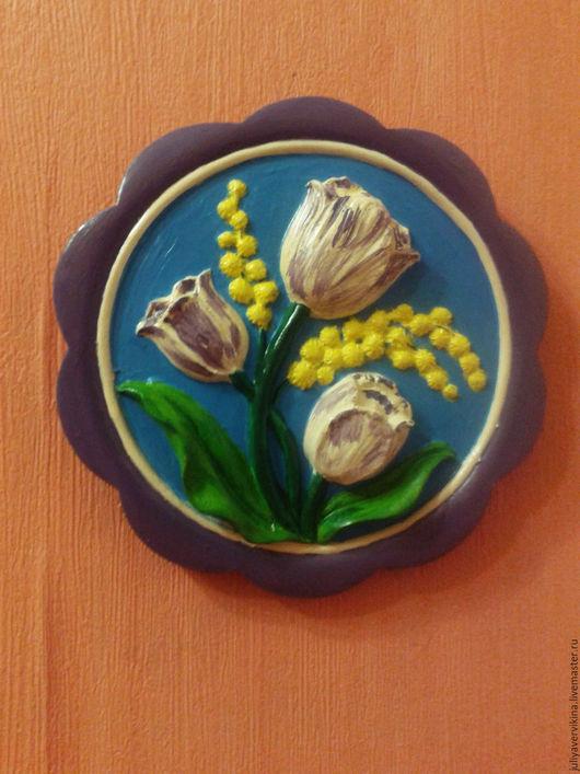 Подвески ручной работы. Ярмарка Мастеров - ручная работа. Купить Пано Тюльпаны, мимоза ( 200р ). Handmade. Пано