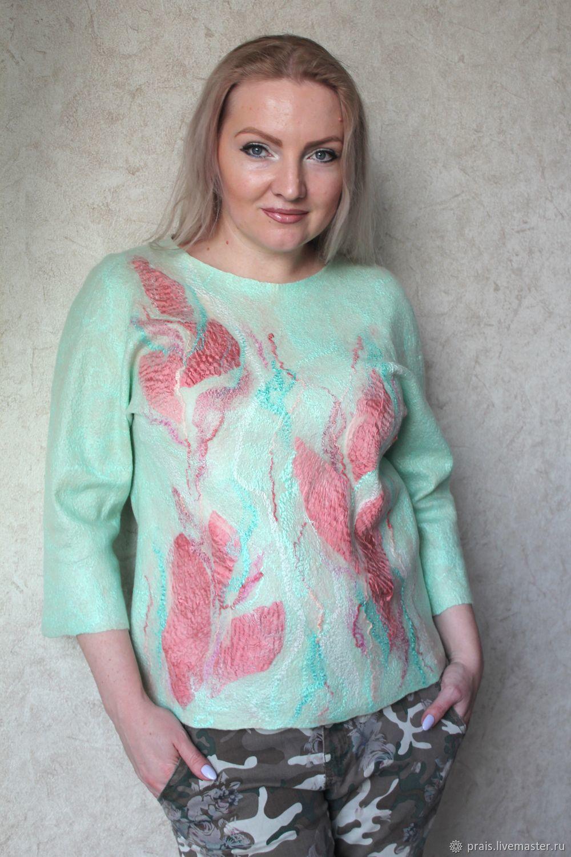 """Кофты и свитера ручной работы. Ярмарка Мастеров - ручная работа. Купить Авторский валяный свитер (свитшот) """" Тender"""". Handmade."""
