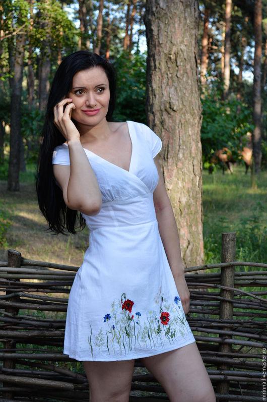 """Платья ручной работы. Ярмарка Мастеров - ручная работа. Купить летнее платье с вышивкой""""полевые цветы"""". Handmade. Ручная работа, белый"""
