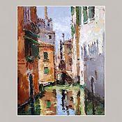 Картины и панно handmade. Livemaster - original item Venice oil painting (terracotta green sunny). Handmade.