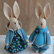 Куклы и игрушки ручной работы. Ярмарка Мастеров - ручная работа Зайки в бирюзовом. Handmade.