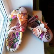 """Обувь ручной работы. Ярмарка Мастеров - ручная работа валяные тапочки """"Сливочные"""". Handmade."""