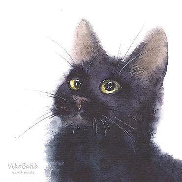 Дизайн и реклама manualidades. Livemaster - hecho a mano Ilustración: Gato y mariposa blanco Negro. Handmade.