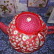 """Посуда ручной работы. Ярмарка Мастеров - ручная работа Чайник-грелка""""ромашки""""красный. Handmade."""