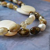Работы для детей, handmade. Livemaster - original item Long necklace of mother of pearl, agate, pearls and citrine Summer Style. Handmade.