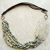 Украшения handmade. Livemaster - original item Necklace made of rock crystal, agate and genuine leather in 925 silver. Handmade.