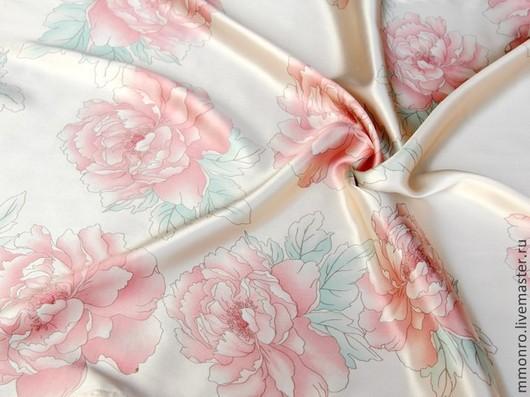 Шитье ручной работы. Ярмарка Мастеров - ручная работа. Купить Ткань натуральный шелк Чайные розы2. Handmade. Ткань
