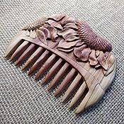 "Сувениры и подарки handmade. Livemaster - original item Hand Carved Juniper Wood Hair Comb ""Children of the sun"". Handmade."
