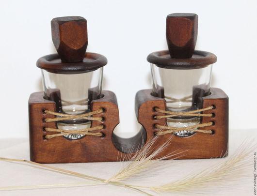 """Винтажная посуда. Ярмарка Мастеров - ручная работа. Купить Стопки для крепких напитков """"Дуэт"""". Handmade. Стопки для водки, дерево, стекло"""