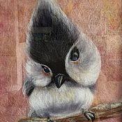 """Картины и панно ручной работы. Ярмарка Мастеров - ручная работа Картина из шерсти """"Птичка-мозгоклюйка"""". Handmade."""