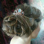 Украшения handmade. Livemaster - original item Hair comb with chalcedony blue stone