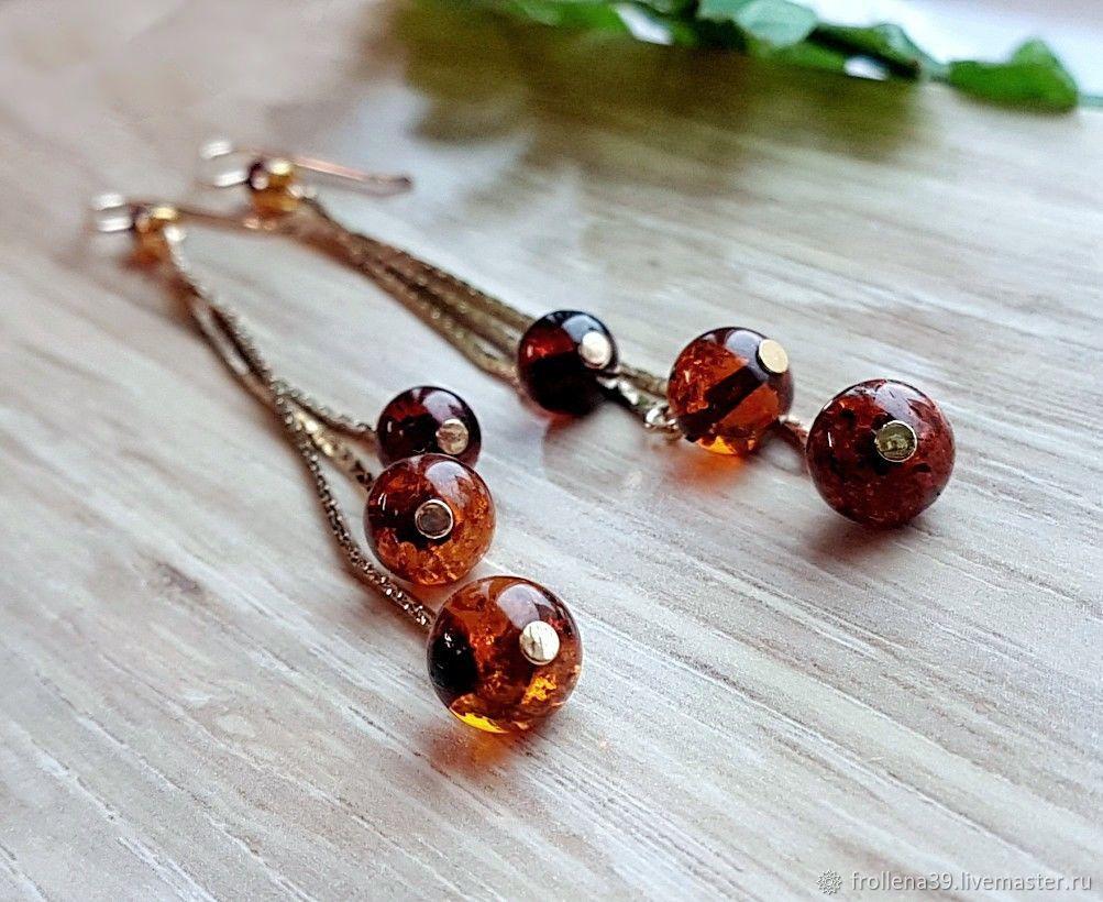 Amber. Earrings 'Hanging gardens' amber gilding, Earrings, Moscow,  Фото №1