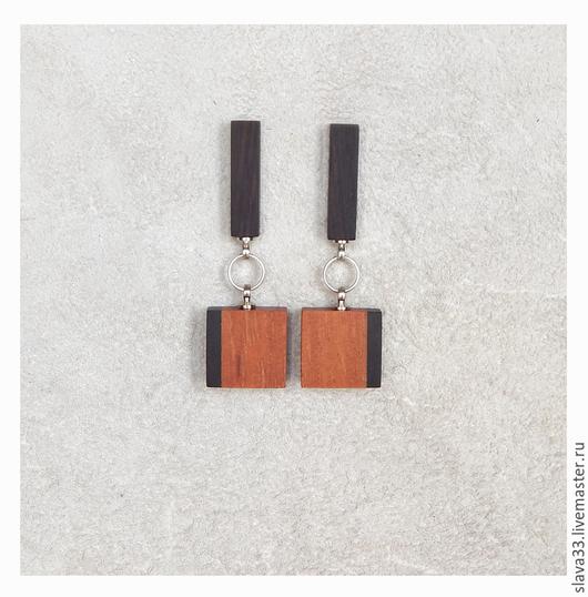 Серьги ручной работы. Ярмарка Мастеров - ручная работа. Купить Прямоугольные серьги.. Handmade. Wooden earrings, серьги, стильный подарок