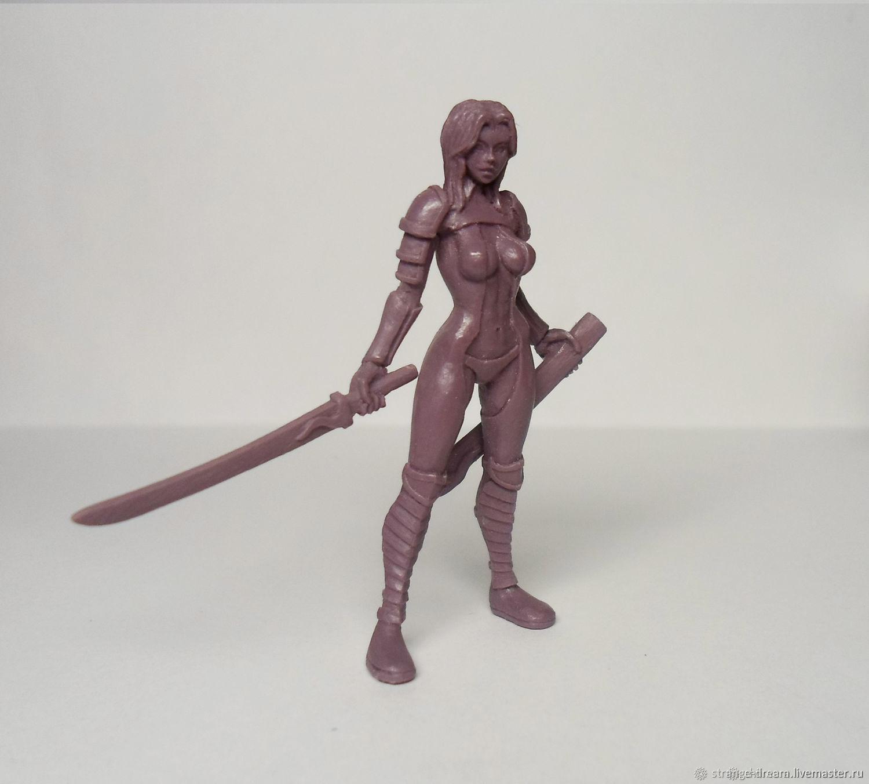 Девушка с мечом 54 мм, Миниатюрные игрушки, Кемь, Фото №1