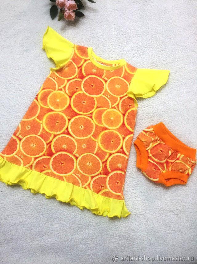 "Платье ""Солнечный апельсин""+ трусики хипстеры"